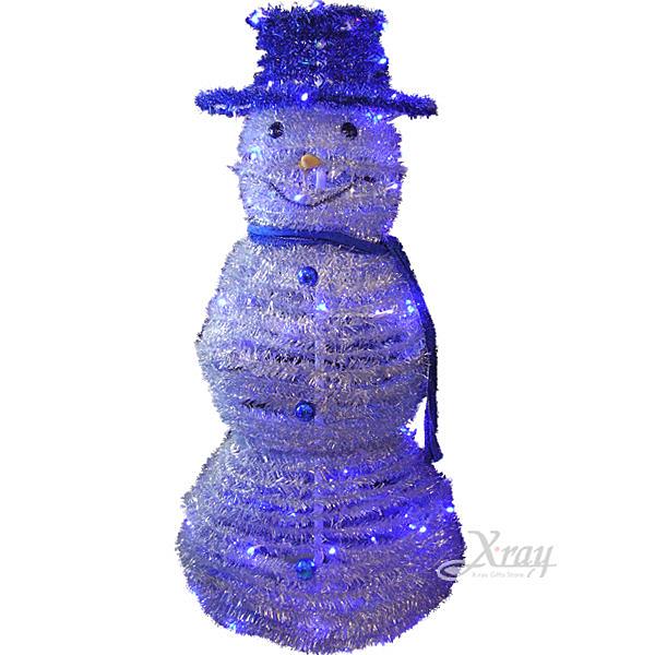 節慶王【X170002】LED發光摺疊雪人(藍帽),聖誕樹/LED燈/聖誕燈/裝飾燈/造型燈