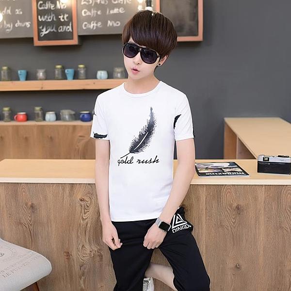 [超豐國際]夏季男士短袖t恤青少年13-14-15-16歲男1入
