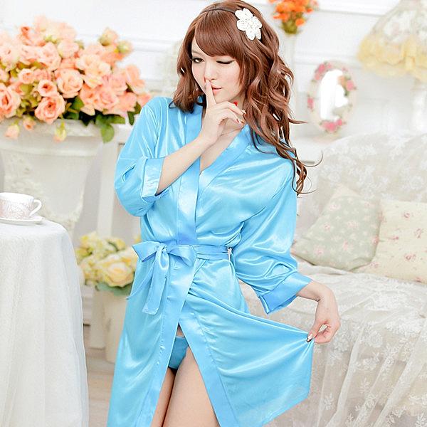 甜蜜嬌妻 素面絲緞一件式睡袍(天空藍)