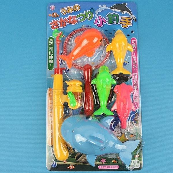 日系釣釣樂 D610 鯨魚會噴水 釣魚組 戲水童玩(7件組入)/一卡入(促199)-生ST026