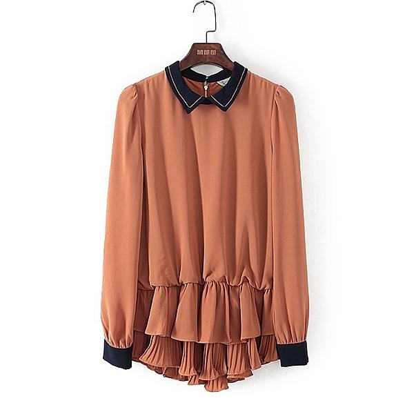 [超豐國際]帛春夏裝女裝焦糖色復古風時尚雪紡衫 40258(1入)