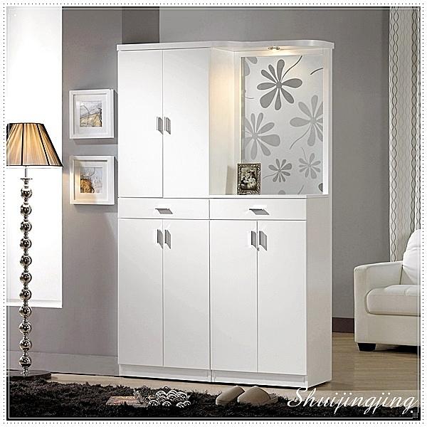 【水晶晶家具/傢俱首選】JM1844-2 米洛斯4尺白色玄關屏風鞋櫃全組