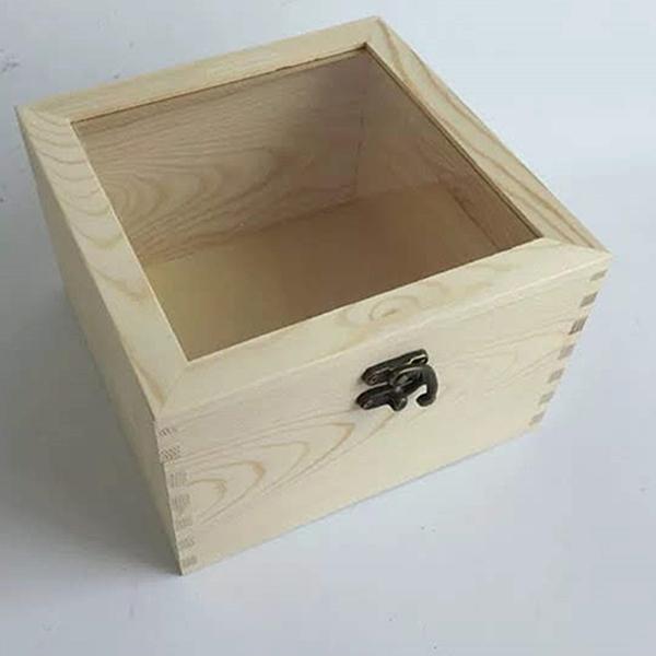 永生花DIY材料手工專用木盒,圓形絨布盒永生花DIY花盒玻璃罩,尺寸18*18*11cm