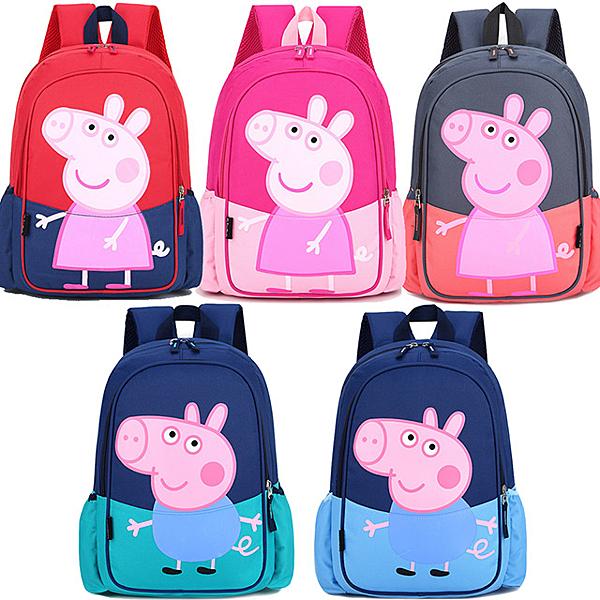 STAR BABY-鮮豔粉彩 佩佩豬 喬治 輕量防潑水後背包-大款