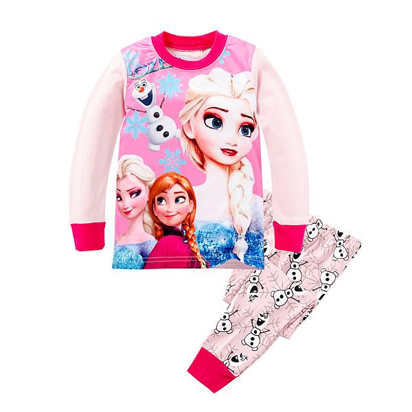 女Baby女童長袖套裝桃粉色公主印花居家休閒棉質套裝現貨