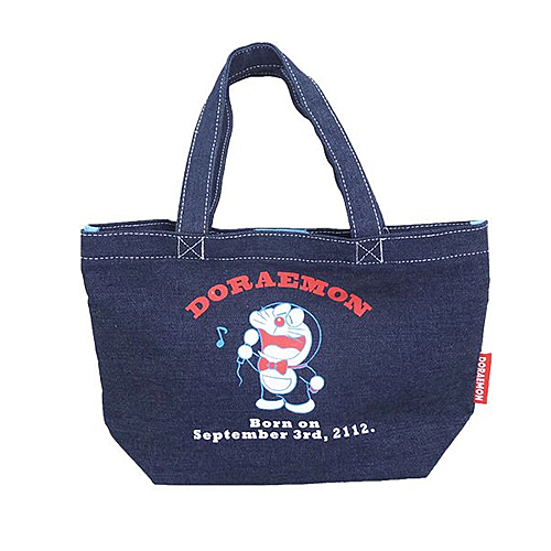 唱歌款【日本進口正版】哆啦a夢 DORAEMON 牛仔 手提袋 便當袋 帆布包 小叮噹 - 418328