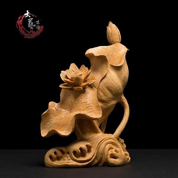 小葉黃楊木雕筆筒辦公桌客廳擺件實木客廳雕刻工藝品飾品