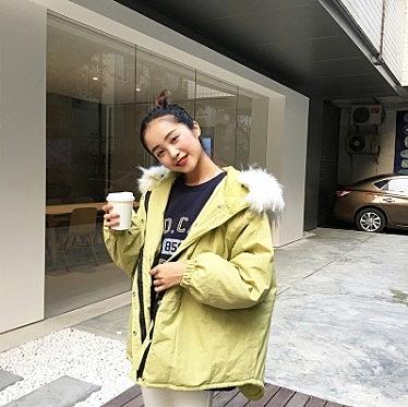 [協貿國際]秋冬寬鬆顯瘦大毛領連帽蝙蝠袖棉服外套中長款大衣