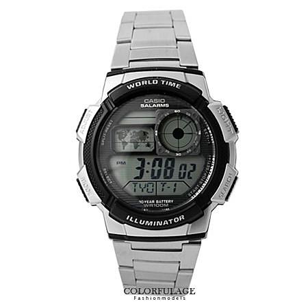 CASIO日本卡西歐手錶 仿飛機儀表板美學多功能腕錶 100M防水設計十年電力【NE1346】公司貨