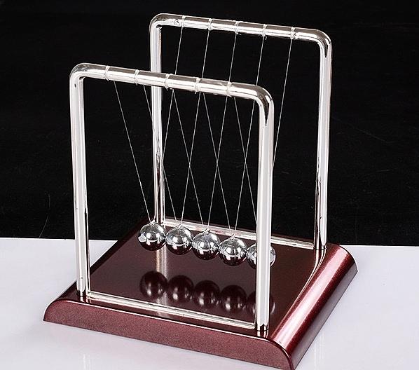 CH139─創意牛頓擺撞球彈力碰碰球能量守恒擺件畢業禮物送同學老師(方形款小號)