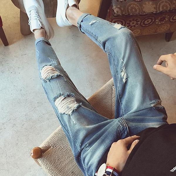 [超豐國際]夏季破洞九分小腳牛仔褲拼接款復古水洗挽腿