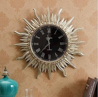 【衫衫來時】歐式複古掛鐘別墅客廳家用壁鐘豪華藝術裝飾鐘錶靜音時鐘【太陽金】