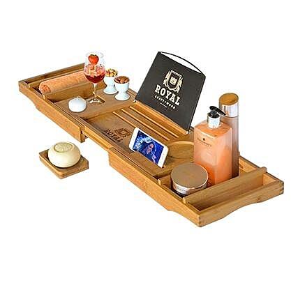 竹制浴缸置物架 多功能伸縮洗澡看電影手機電腦架 泡澡神器浴缸架ATF 美好生活居家館