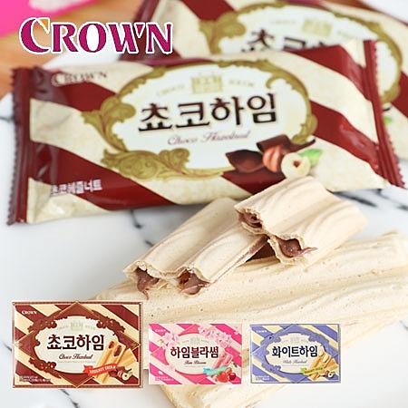 韓國 CROWN 威化條 142g 威化酥 威化餅 巧克力 草莓櫻桃 奶油 夾心餅 餅乾 韓國餅乾