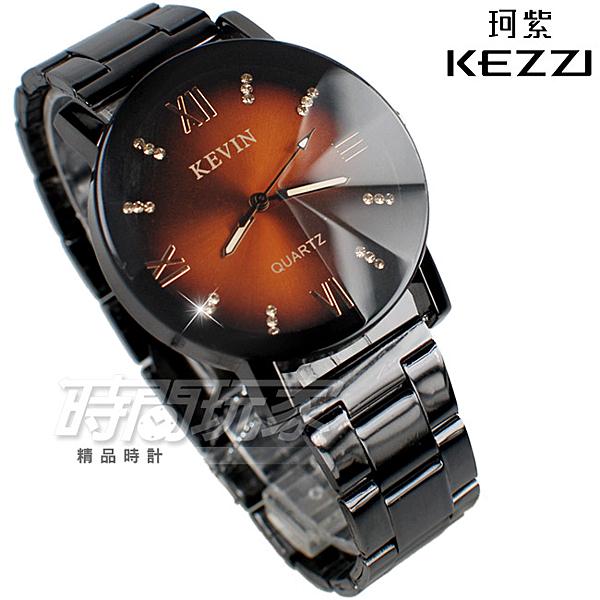 KEVIN 羅馬情懷 時刻鑲鑽 立體多角切割鏡面 學生錶 防水手錶 IP黑 女錶 男錶 中性錶 KE2068咖鑽