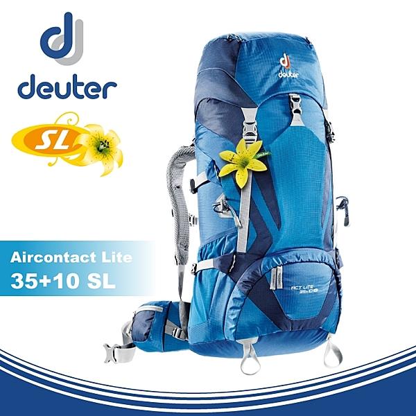 【Deuter 德國 ACT Lite 35+10SL 拔熱式透氣背包《深藍/藍》】3340016/雙肩後背包/登山包/自行車