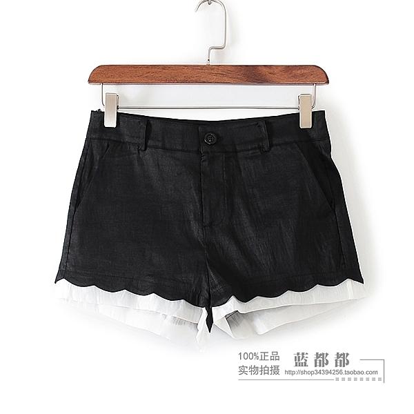 [超豐國際]情夏裝女裝黑色撞色百搭休閑短褲 24180(1入)