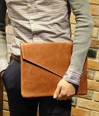 FINDSENSE Z1 韓國 時尚 潮 男 複古 皮質 信封包 手拿包 皮夾包