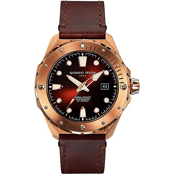 GIORGIO FEDON 1919 海藍寶石系列機械錶-咖啡x玫塊金框/45mm GFCJ006