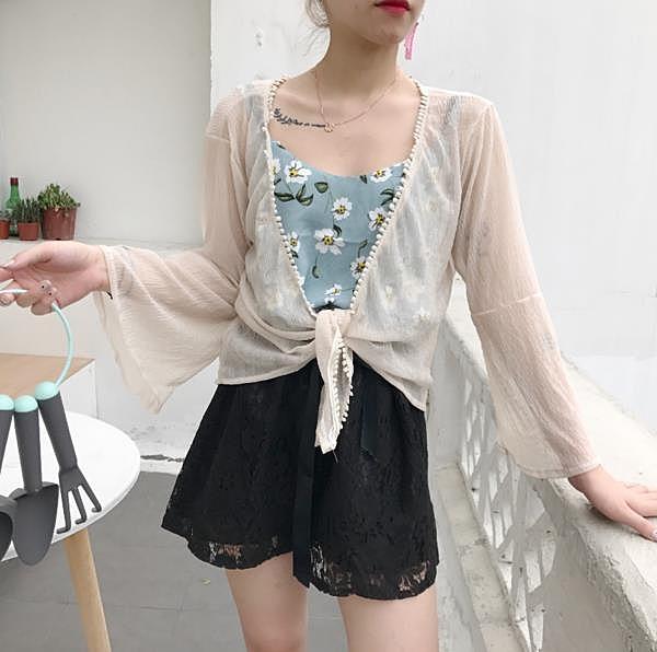[超豐國際]夏季女裝寬松短款防曬衣襯衫女百搭顯瘦學生長袖襯衣1入