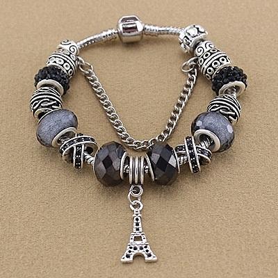 串珠手環-歐美時尚水晶飾品鐵塔吊墜女配件73kc343【時尚巴黎】
