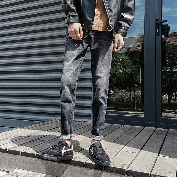 黑色牛仔褲男士正韓潮流修身小腳青少年寬鬆直筒九分褲牛子褲 【萬聖夜來臨】