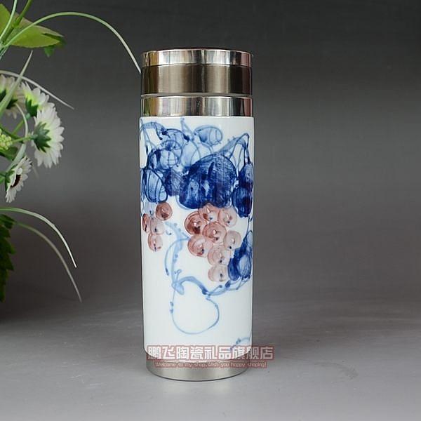 景德鎮 陶瓷 手繪 保溫杯  青花瓷  紅葡萄