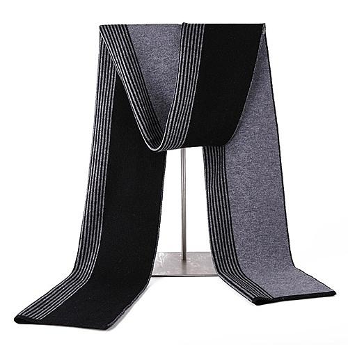 羊毛圍巾-拼色條紋休閒針織男披肩3色73wh18[時尚巴黎]