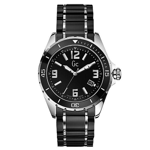 Gc時尚紳士日期陶瓷腕錶(銀黑)~SWISS MADE