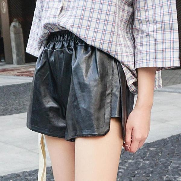 [超豐國際]春季女裝寬松顯瘦松緊腰PU皮褲超百搭小開叉高腰闊1入
