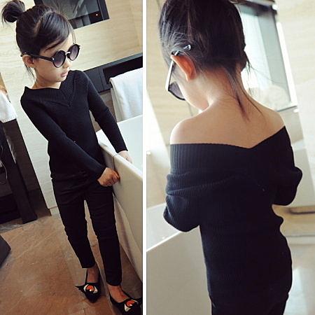*╮小衣衫S13╭*百搭修身V字領黑色針織衫 1041021