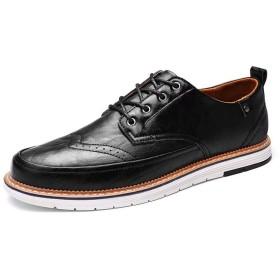 [Pooxun] カジュアルシューズ メンズ 茶色 オックスフォードシューズ レースアップ 紐靴 革靴 カジュアル 靴 おしゃれ 黒 ブラック ブラウン