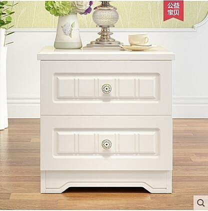 實木床頭櫃歐式簡約儲物櫃雕花象牙白色歐式收納櫃