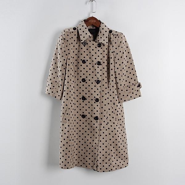 [超豐國際]面春夏裝女裝米色波點氣質中長款風衣 散89119(1入)