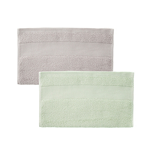 (組)美國棉毛巾34x80-藕灰x1+綠x1