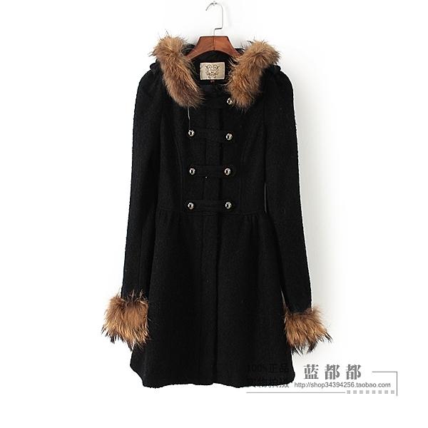 [超豐國際]拉秋冬裝女裝黑色純色中長款修身毛領大衣 0172(1入)