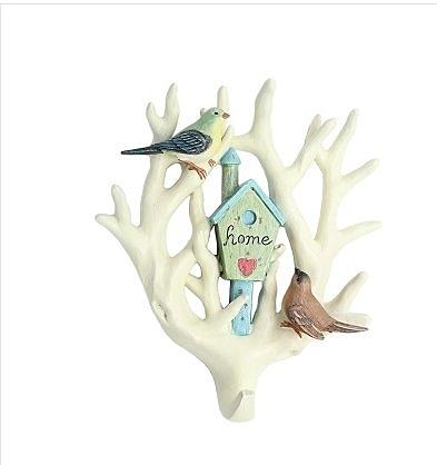 創意簡約現代立體金剛鸚鵡大無痕掛鉤牆面裝飾客廳背景牆壁掛壁飾(樹枝木屋掛鉤(白色))
