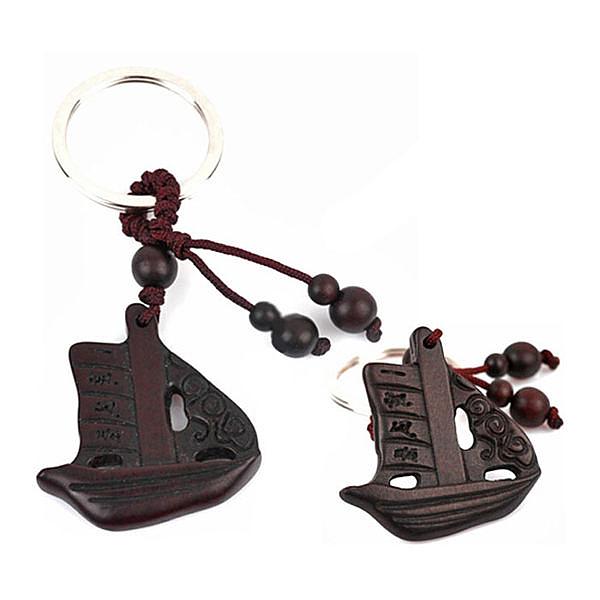 雷擊棗木一帆風順鑰匙扣招財辟邪保平安掛件飾品