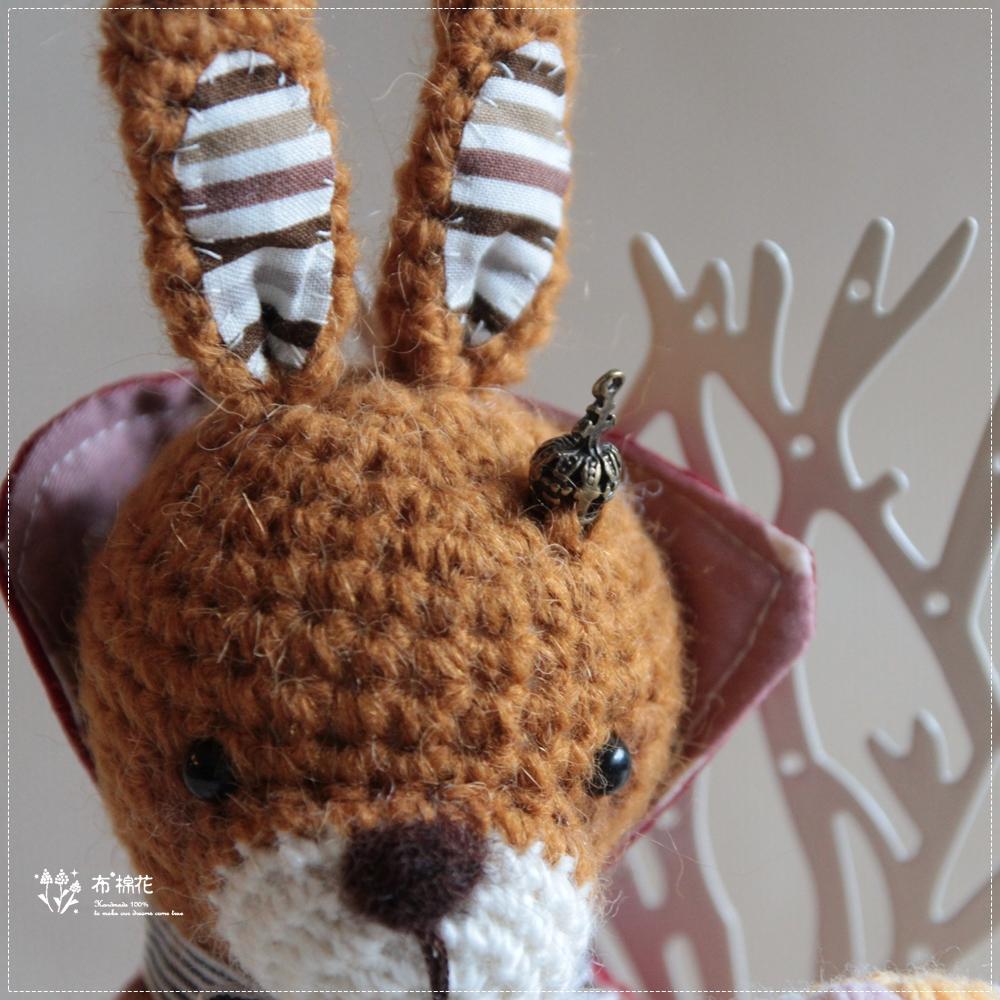 【布棉花】手鈎玩偶, 手作娃娃, 薑黃兔子, 任性國王, 披風 棒棒糖 皇冠, 羊毛氈, 限量