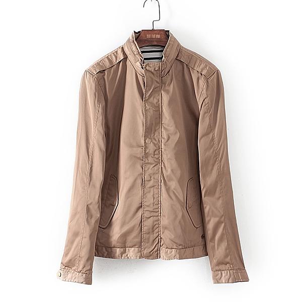 [超豐國際]堅秋冬裝男裝淺米色純色時尚單夾克 42627(1入)
