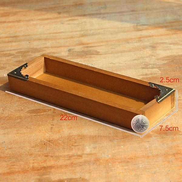 [超豐國際]復古木質桌面收納盒 多功能開口多肉植物培育小木盒1入