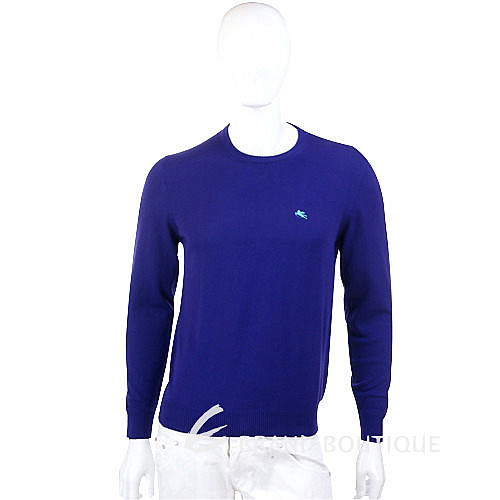 ETRO 藍色素面針織長袖上衣 1230301-04