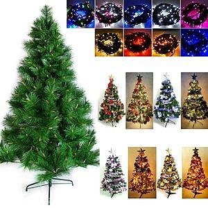 5尺綠松針葉聖誕樹+飾品組+LED燈100燈2串銀紫色系+白光