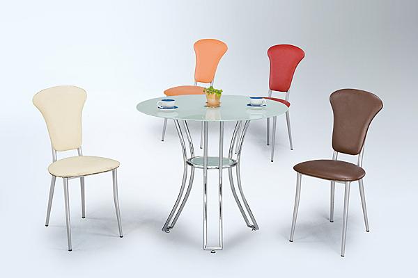 【 IS空間美學】90圓玻璃餐桌+維也納椅四色可選(一桌四椅)