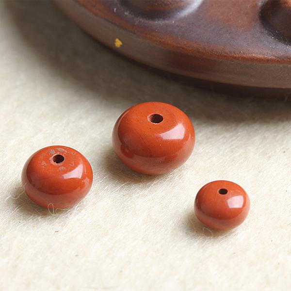 [超豐國際]DIY水晶飾品配件紅石盤珠直通半成品手工飾品隔珠1入