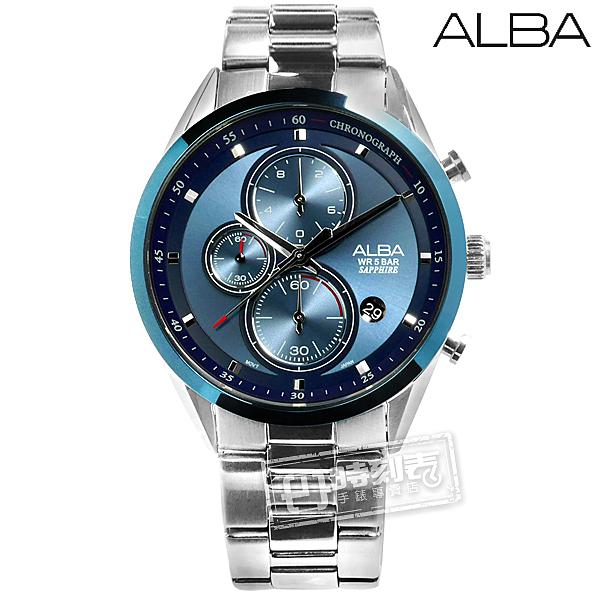 ALBA / VD57-X106B.AM3461X1 / 日期顯示三眼計時藍寶石水晶玻璃防水不鏽鋼手錶 藍色 43mm