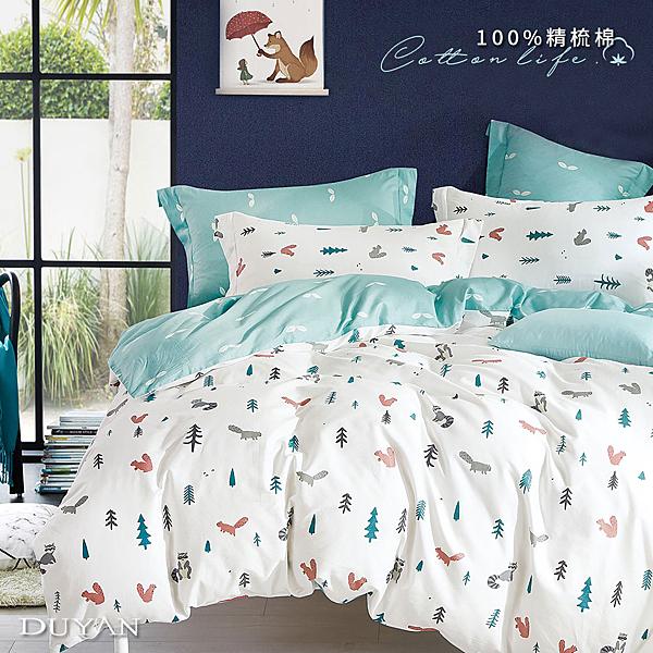 《DUYAN竹漾》台灣製 100%精梳棉雙人加大床包三件組-松鼠之森