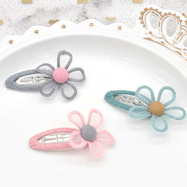 透明花朵鏤空布藝髮夾 兒童髮飾 髮夾 碎髮夾 邊夾
