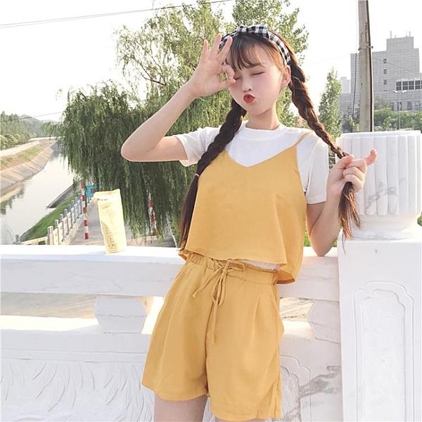 [超豐國際]夏季女裝時尚套裝學生短袖上衣吊帶背心闊腿褲短褲三1入
