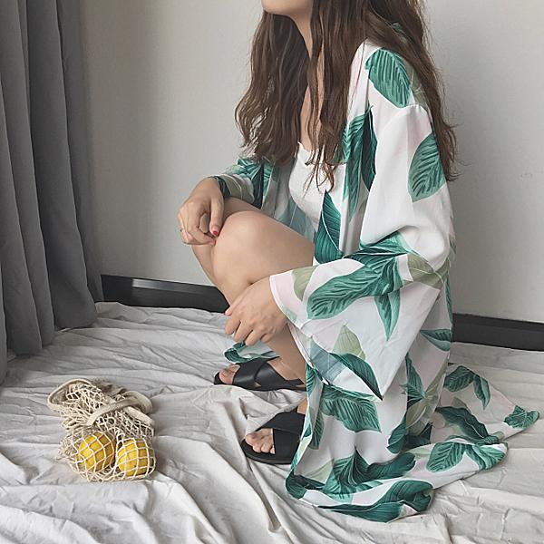[超豐國際]春夏女裝chic度假風熱帶樹葉長款防曬衫休閑長袖1入